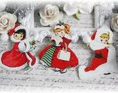 Vintage Santa Baby Die Cut Embellishments for Scrapbooking, Cardmaking, Mixed Media, Altered Art