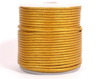 1.5mm Round Indian Leather - Gold Metallic - 229