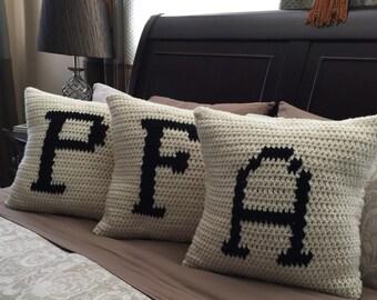 Crochet Alphabet Pillow Case