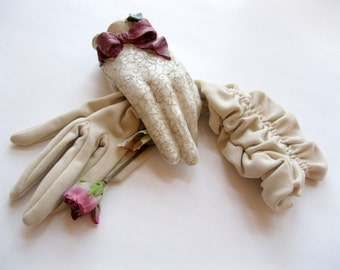 Long Gloves, Beige Long Gloves, Size 7, Finger, Special Occasion, Bridal,Graduation,  by mailordervintage on etsy