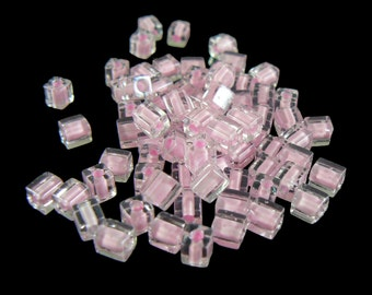 4mm Miyuki # SB207,  clear color lined pink square beads, 20 grams, approx. 208 beads. Loom work, memory wire items, Spring, Easter, bunny