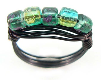 Speckled glass beads wire wrapped ring, custom made in your size