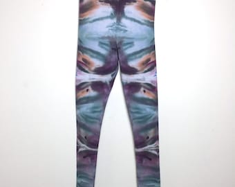 Psychedelic Ice-Dyed Leggings - Size Small - S - Watercolor Vibes