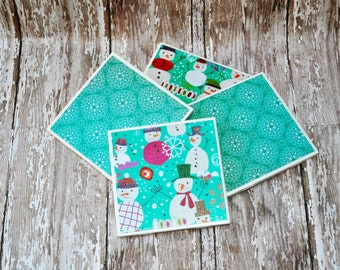 Winter Coasters, Tile Coasters, Set of 4 Coordinating Coasters, Snowman Coasters, 4 Inch Square Tile Coasters, Christmas Decoration, Snowman