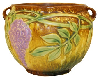 Roseville Pottery Wisteria Tan Jardiniere