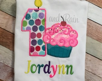 Customized Cupcake Girls Birthday Shirt - Choose your cupcake color!