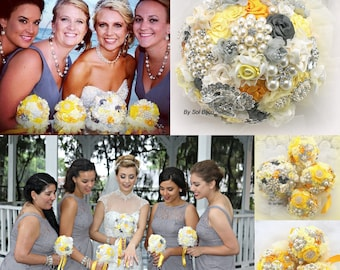 Brooch Bouquet, Bridesmaids Bouquets, Yellow Bouquets, Yellow, Ivory, Cream, Silver, Pewter, Gray, Elegant Wedding, Vintage Style, Pearls