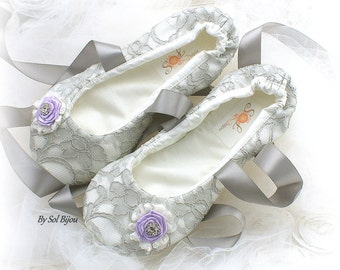 Wedding Ballet Flats, Ivory, Lilac, Gray, Silver, Lace Flats, Ballet Slippers, Wedding Flats, Flower Girl, Vintage Wedding, Crystals, Pearls