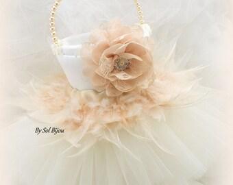 Flower Girl Basket, Tutu Basket, Ivory, Blush, Cream, Vintage Style, Elegant Wedding, Feather Girl Basket, Gatsby,Tulle Skirt,Pearl Handle,