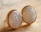 25% OFF Gold Oval Druzy Stud Earrings - Post Earrings - Geode Earrings, AAA Quality