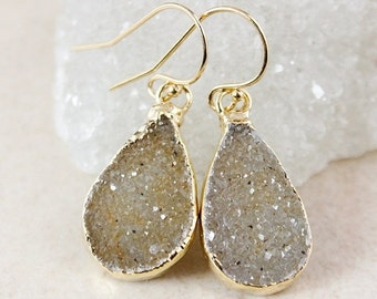 ON SALE Brown Sugar Druzy Dangle Earrings - Choose Your Druzy - Gold or Silver