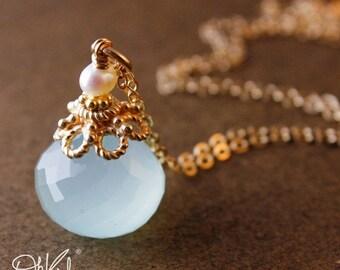 25% OFF Sea Green Chalcedony Necklace - Freshwater Pearl - Aqua Chalcedony, 14K GF