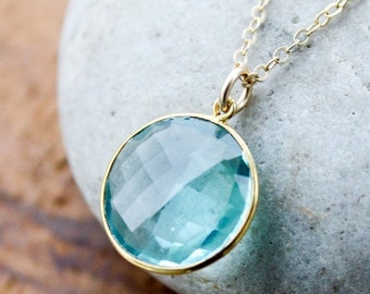 CLEARANCE SALE Gold Light Aqua Quartz Bezel Necklace - 14Kt Gold Fill - Gemstone Necklace
