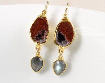 50% OFF SALE - Tabasco Druzy Dangle Earrings – Blue Labradorite