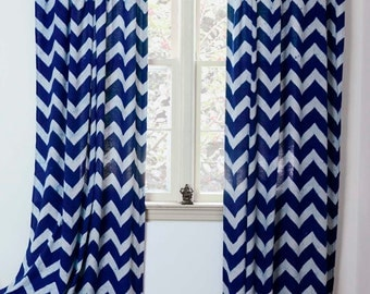 "Chevron Window Curtain, Window Treatment  Indigo Zig Zag - ONE panel 44""w x 84""L /108""L - Block Printed with Natural dyes Cotton 50% OFF"