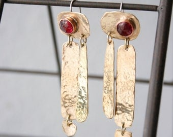 Red Garnet and Brass Dangle Earrings - Mixed Metal