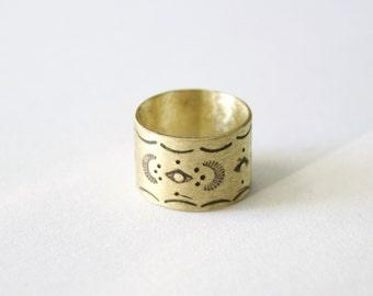 Brass Stamped Metal Ring - Wide Band Ring