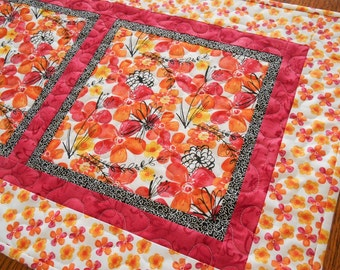 Quilted Table Runner with Pink Orange and Yellow Flowers, Floral Table Runner, Quilted Table Mat, Quilted Tablecloth, Quiltsy Handmade