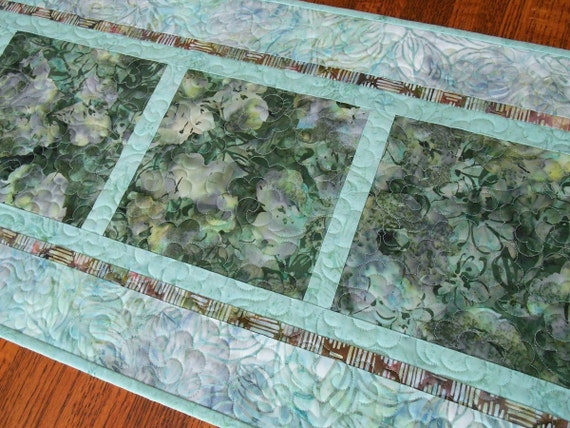 Quilted Batik Table Runner in Shades of Green Gray and Aqua, Batik Flowers and Leaves Table Runner, Batik Table Topper, Quiltsy Handmade