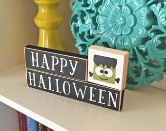 Happy Halloween Blocks- Halloween Decor, Fall Decor, Halloween Blocks, Halloween Sign, Pumpkin Decor, Frankenstein, Holiday Blocks,