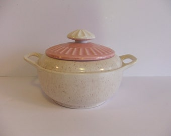 Vintage Casserole Dish Covered Dish Pink Speckled dish Ceramic Dish Pink and Cream ovenware