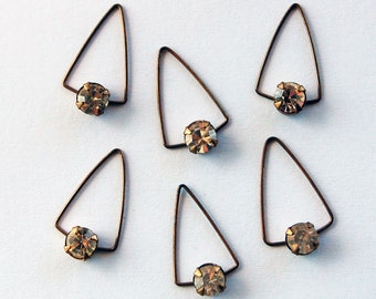 Vintage Wire Triangles w/ Swarovski Rhinestones Pendant Beads • 18x10mm • Brass or Silver