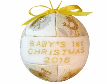 Yellow 2016 Babys First Christmas Ornament by CraftCrazy4U