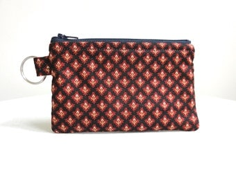 Navy Blue and Red Wine Zippered Bag / Coin Purse / Id Case / Gadget Pouch with Key Ring - READY TO SHIP