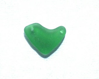 Drilled Sea Glass DOUBLE Heart Shape  Drilled Emerald Green Sea Glass Pendant    (147)