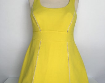 AWESOME  vintage 60s sears acid yellow empire wasit bathing suit top dress