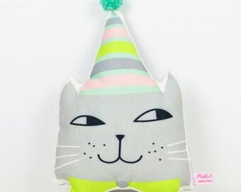 mini kitten head pillow in gray or stuffed animal head for wall