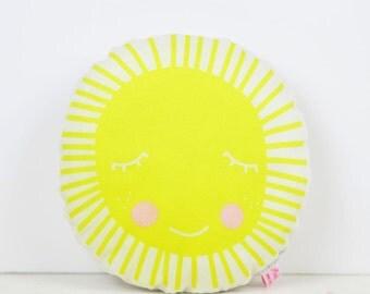 mini sun pillow in yellow for kids room decor
