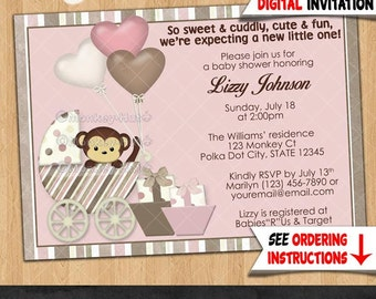 Girl Monkey Baby Shower invitations Girls Buggy Stroller Carriage PINK and Brown monkeys theme Personalized DIGITAL INVITATION #325