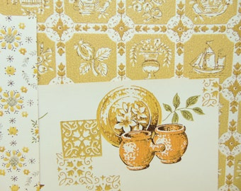 Vintage Wallpaper for Orange and Mustard Kitchen Decor 3 Sheets 18 x 12, 1960s