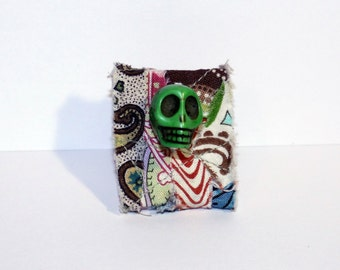 Scrappy Skull Ring, Adjustable Green Skull Ring, OOAK Skull Ring