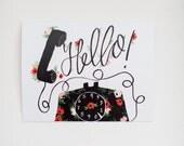 Hello - Floral Phone -  Greeting Card - A-2 Single Card