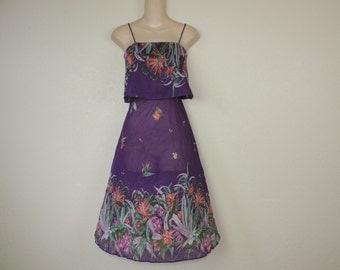 vintage floral sun dress 70s falling flowers disco dress purple sheer festival dress small