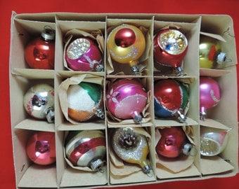 vintage mercury christmas balls. 1960's one dozen colorful glass ornaments.