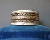 On Hold For Yuffie 303 ... Vintage Brass And Mother Of Pearl Bracelet Bangle Exotic