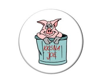 Ham Radio Callsign Pig Trash Can Magnet 2 1/4 inches in diameter