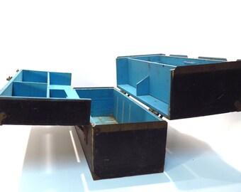 Black Wood Tool Box Vintage Primitive Rustic Decor Double Side Hinged Storage Box