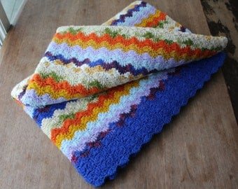Vintage Afghan Blanket Lap Throw Crocheted Shells Bright Colorful Home Decor