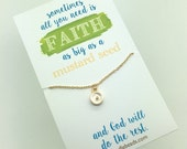 Mustard Seed Necklace - real mustard seed  encased in gold frame Faith necklace - Sometimes all you need is faith as big as a mustard seed