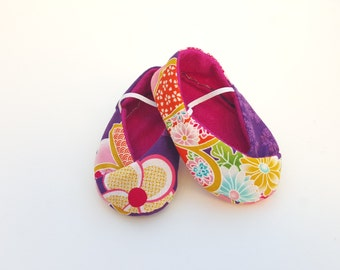BABY SHOES  size 4 - Kimono Style in purple sakura  - fits 6-12 months