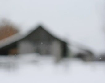 """Barn Photograph """"Winter on the Prairie"""". Rustic Landscape Photography. Affordable Fine Art Print. Winter Home Decor."""