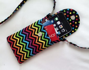 Iphone 6 Case Gadget Case Detachable Neck Strap Chevron Print Bright Primary Colors