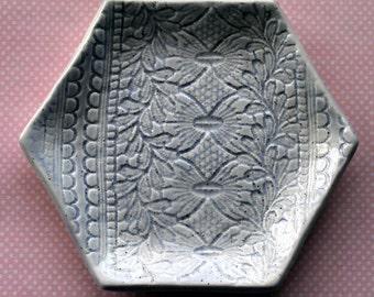 Periwinkle Lace Ceramic Jewelry Dish - Hexagon