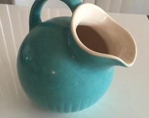 Vintage 1940's Turquoise Pottery Pitcher Hull or Bauer piece very nice