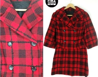 AWESOME Vintage 50s 60s Mod Go-Go Red & Black Plaid Jacket and Skirt Set - Very 90s Clueless!