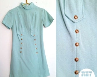 Vintage Mod 60s Pastel Turquoise Scooter Dress with Gold Buttons! Sassy and Short!